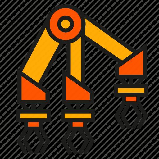 industry, machine, manufacturing, mechanic, robot, robot hand, robotic arm icon