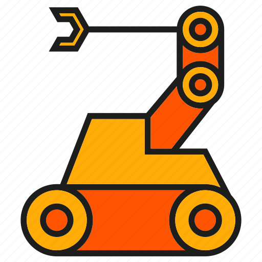 industry, machine, manufacturing, production, rescue robot, robot, robotic arm icon