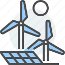 carbon, clean, electric, energy, levels, sun panel, wind mills