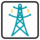 electric, industry, pole, power, supply icon