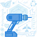construction, drill, electric, equipment, maintenance, tool icon