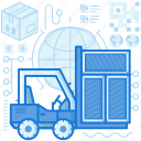 box, crate, equipment, forklift, storage, tool, warehouse