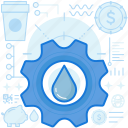 cogwheel, function, gear, liquid, options, preferences, water icon