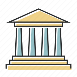 finance, financial, government, industry, line, museum icon