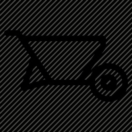 carry, creative, grid, industry, line, shape, stuff, transport, travel, wheelbarrow, wheels icon