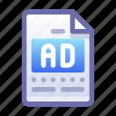 ad, advertisement, document, file