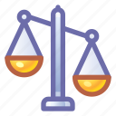 justice, scales, imbalance icon