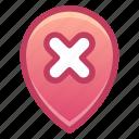 pin, location, remove, delete