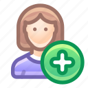user, female, add, new