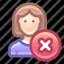 account, user, female, remove, delete