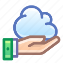 cloud, share, hand