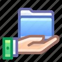 folder, share, shared, hand