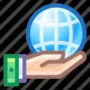 web, globe, share, hand