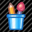 art, pencil, brush, glass