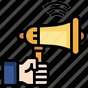 announcement, announcer, bullhorn, loudspeaker, promotion, protest, shout