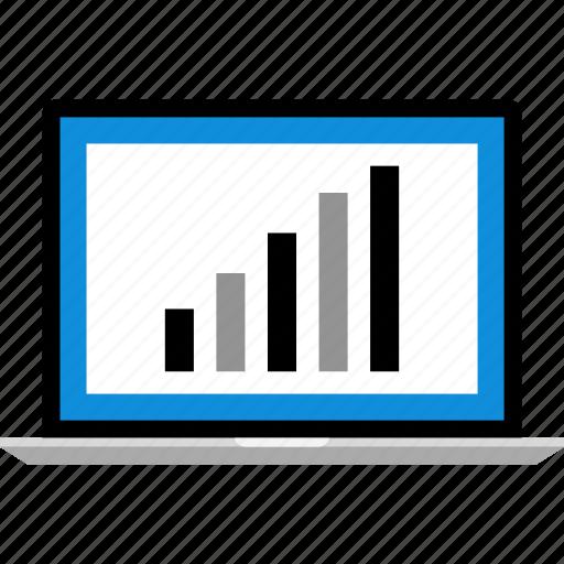 bars, data, graphic, info, laptop icon
