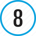 eight, infographic, number, numbering, track, ui icon