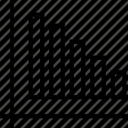 bars, data, decline, down, graphics, info icon