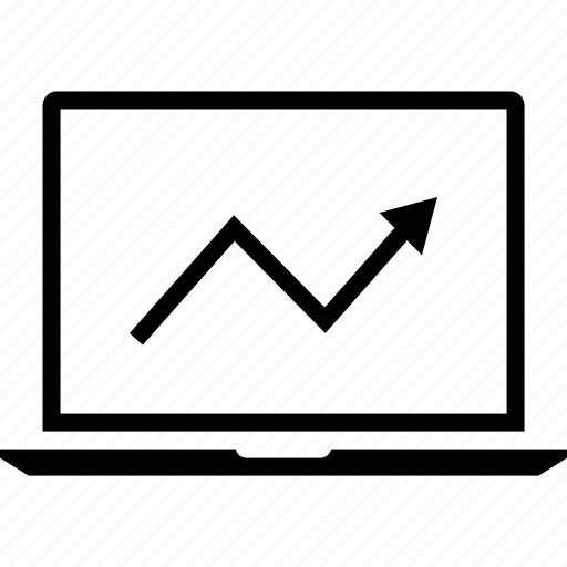 arrow, data, graphics, info, laptop, up icon