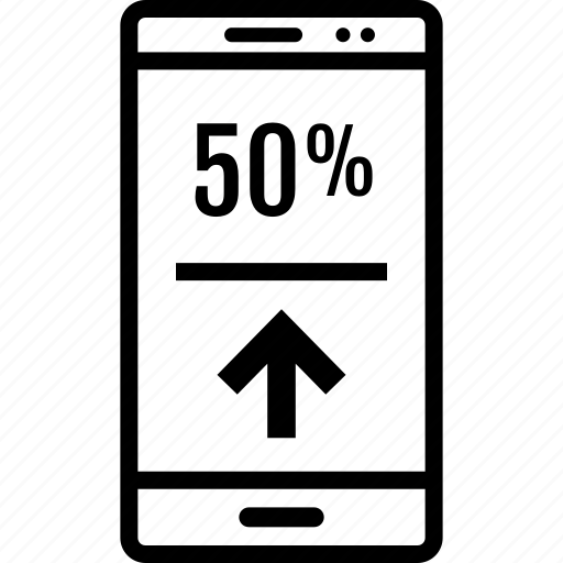 data, fifty, graphics, info, phone, up icon