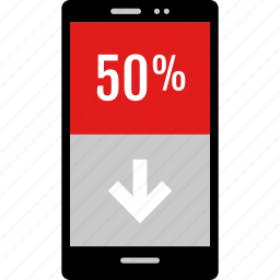 data, down, graphic, info, phone icon