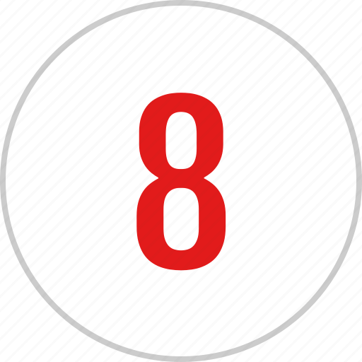 count, eight, number, track icon