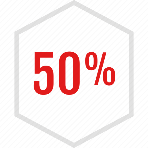 data, fifty, graphic, info, percent icon