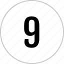 count, nine, number, track icon