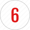 count, number, six, track icon