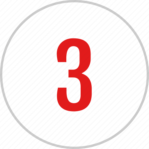count, number, three, track icon