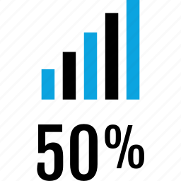 data, fifty, graphics, info, percent icon
