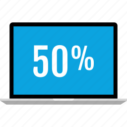 data, fifty, graphics, info, laptop, percent icon