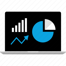 data, graphic, graphics, info, laptop, online icon