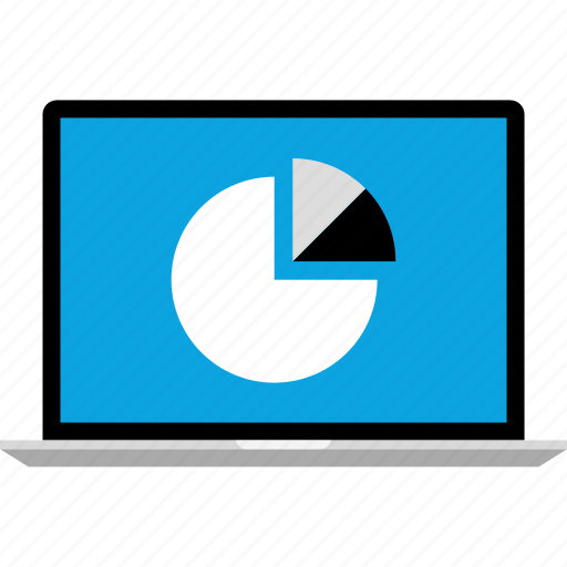 chart, data, graphics, info, laptop, pie icon
