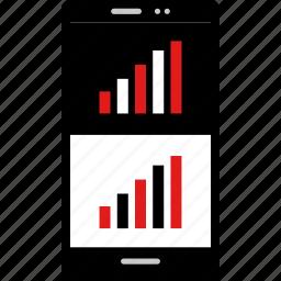 bars, data, graphic, info, phone icon