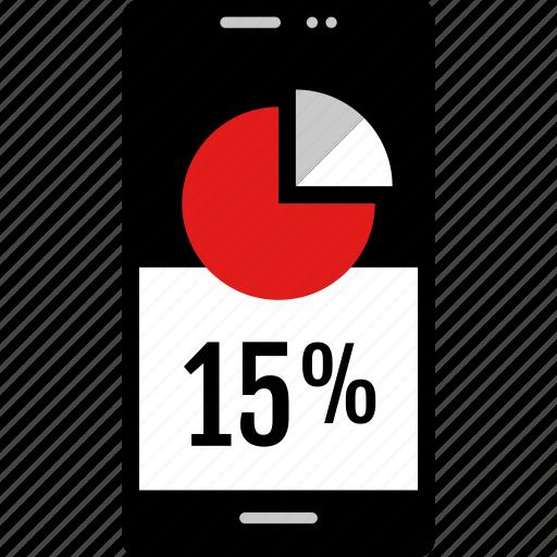 data, fifteen, graphic, info, percent icon