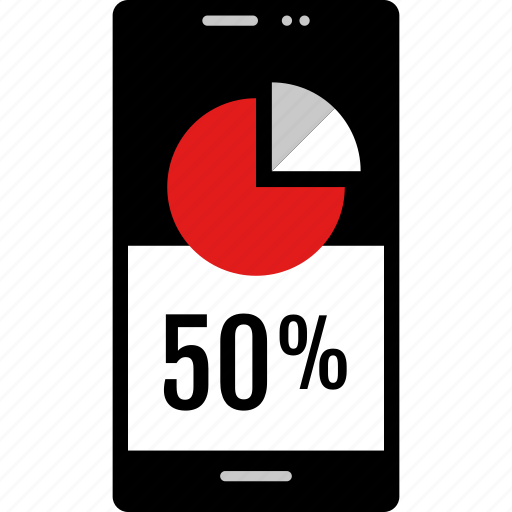 data, fifty, graphic, info, phone icon