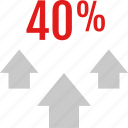 data, fourty, graphic, info, percent icon
