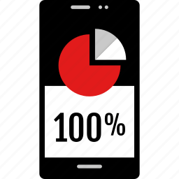 data, graphic, info, onehundred, percent, phone icon
