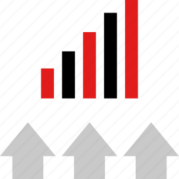 data, graphic, info, three, up icon