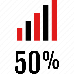 data, fifty, graphic, half, info icon