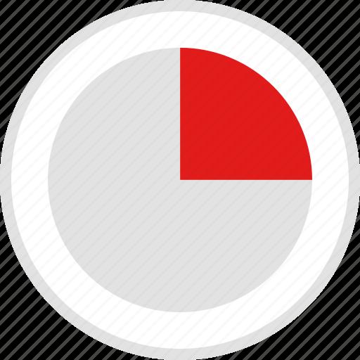 data, graphic, info, one, quarter icon
