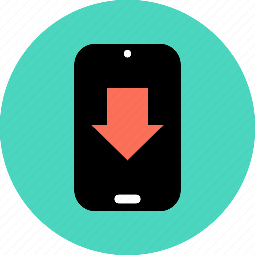 cell, down, download, phone icon