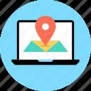 google, laptop, map, pin icon