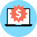 dollar, laptop, tag icon
