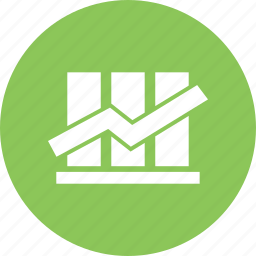 arrow, bars, business growth, chart, down growth, results, up growth icon