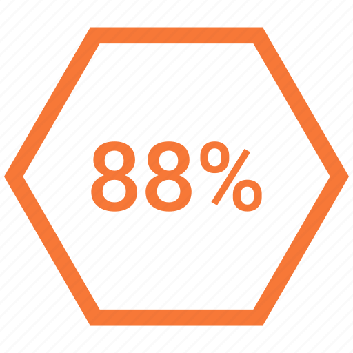 eighty eight, percent, rate, revenue icon