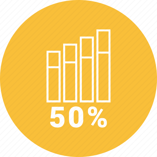 analytics, bar, chart, fifty, graph icon