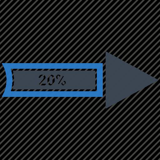 arrow, chart, growth, increase, twenty icon
