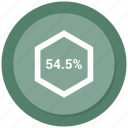 fifty, four, percent, percentage icon